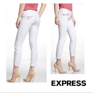 Express white studded jeans
